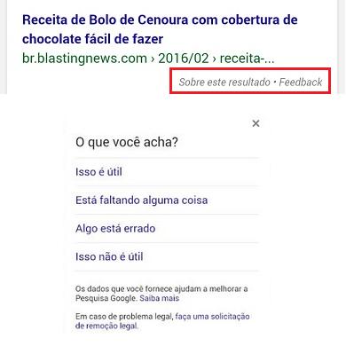 Feedback para Novo Resultado de Pesquisa Google