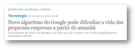 Notícia Site Google Mobilegeddon