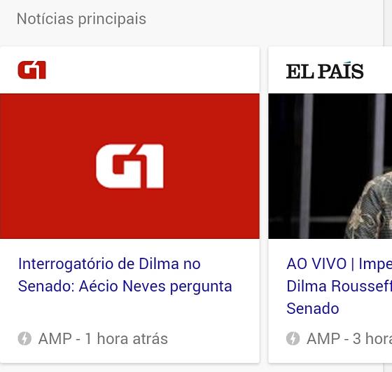 AMP na SERP com Artigos, Notícias