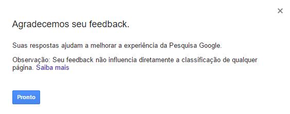 Agradecimento de Feedback para Resultados de Pesquisa Wikipedia