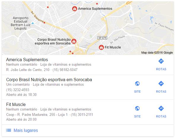 Resultados Locais do Google Meu Negócio - Busca em Sorocaba/SP por Lojas de Suplemento Alimentar