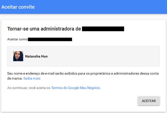 Aceitar convite para acessar conta Google Meu Negócio
