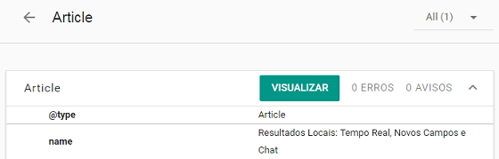 Ferramenta de Teste de Dados Estruturados: Botão Visualizar Schema Article