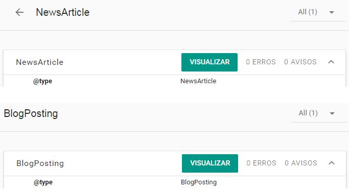 Ferramenta de Dados Estruturados: Botão Visualizar para NewsArticle e BlogPosting