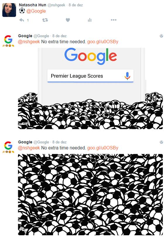 Emoji para o Twitter do Google retorna GIF animado e link para SERP - placar de futebol