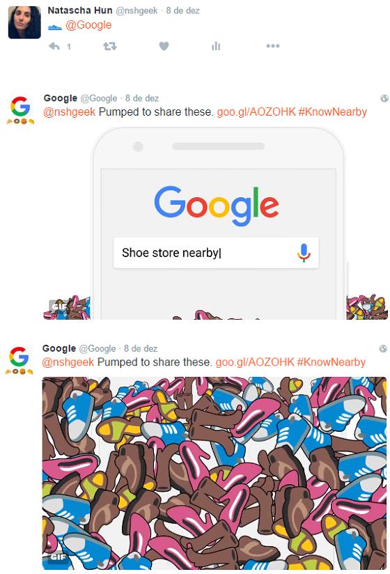 Emoji para o Twitter do Google retorna GIF animado e link para SERP - lojas de tênis