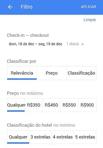 Google Resultados Locais: Filtro para Hotéis