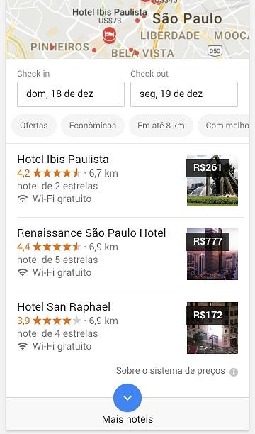 Google Resultados Locais: Hotéis