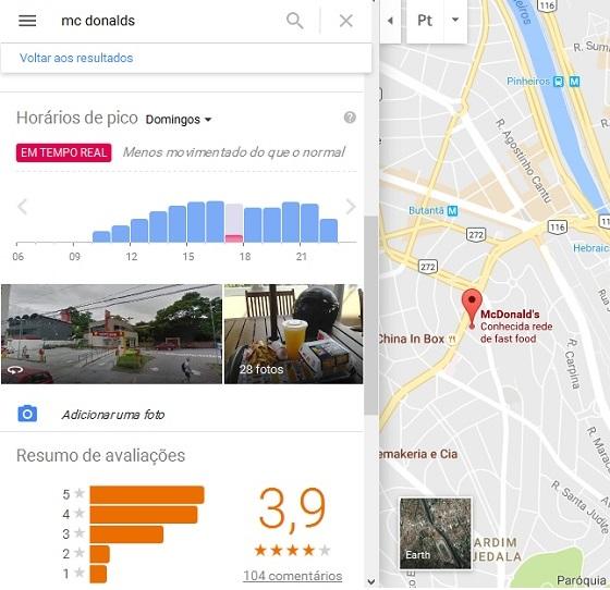 Google Resultados Locais: Movimento do Comércio em Tempo Real - Desktop