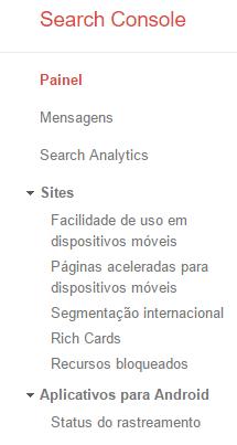 Conjunto de propriedades site e aplicativos no Google Search Console