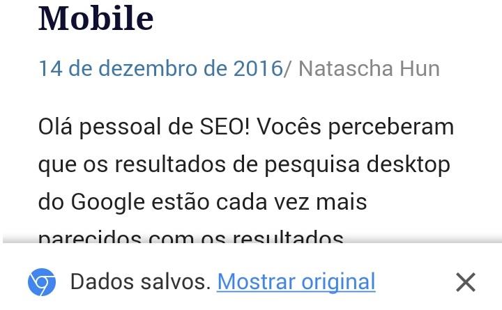 Mensagem Dados Salvos do Google Chrome