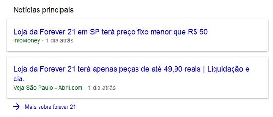 Resultados de notícias na SERP desktop com maior espaçamento