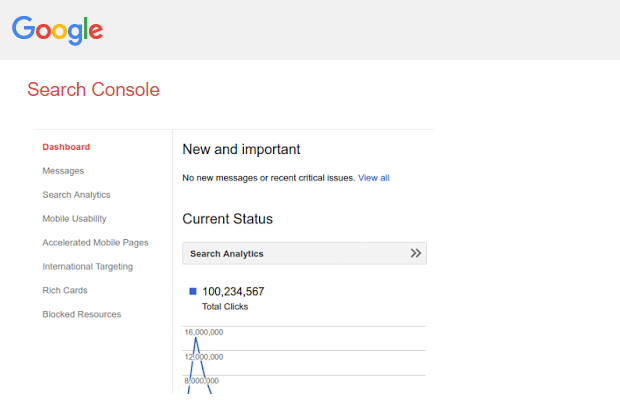 Conjunto de propriedades do Google Search Console
