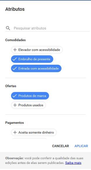 Painel Google Meu Negocio - atributos do comércio