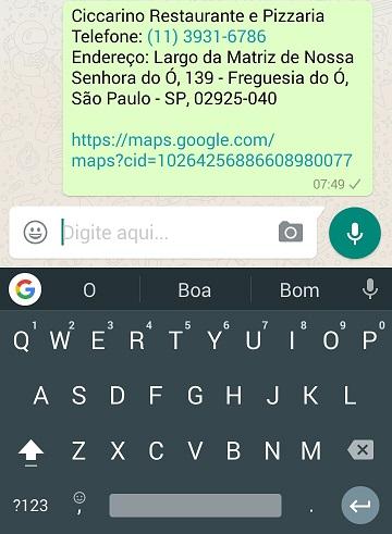 Pesquisa no teclado Gboard - Resultados Locais de comércio no WhatsApp