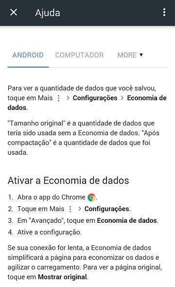 Recurso Google Chrome Economia de dados