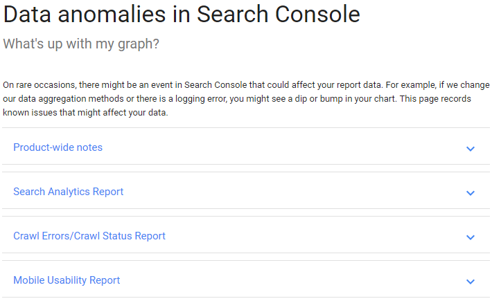 Anomalias do Google Search Console