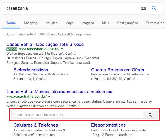 Busca interna através dos resultados orgânicos do Google