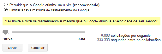 Limitar taxa de rastreamento do Googlebot no Google Search Console
