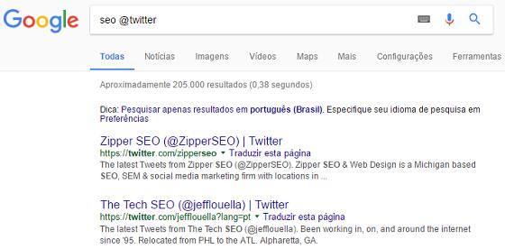 Operador de busca Google arroba