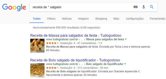 Operador de busca Google asterisco