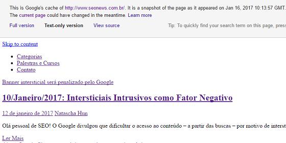 Operador de busca Google cache - versão somente texto da página