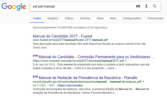 Operador de busca Google ext
