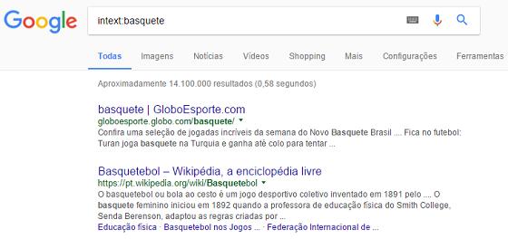 Operador de busca Google intext
