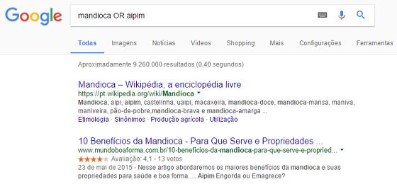 Operador de busca Google OR