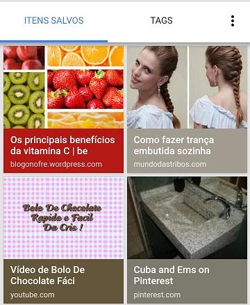 Imagens salvas dos resultados do Google Imagens