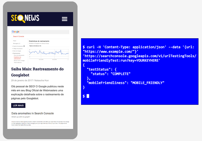 cURL Mobile-First API de teste no browser