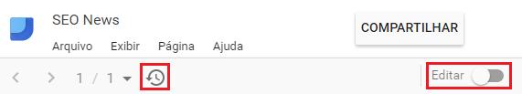 Botões para editar e atualizar painel Google Data Studio