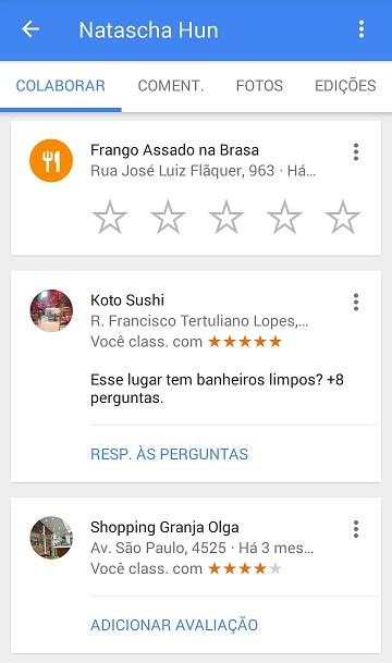 Locais sugeridos para avaliação pelo Google Guias Locais (Local Guide)