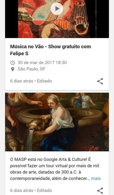Agenda de eventos no Google Posts MASP