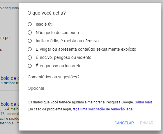 Formulário de avaliação feedback para resultado de pesquisa Google