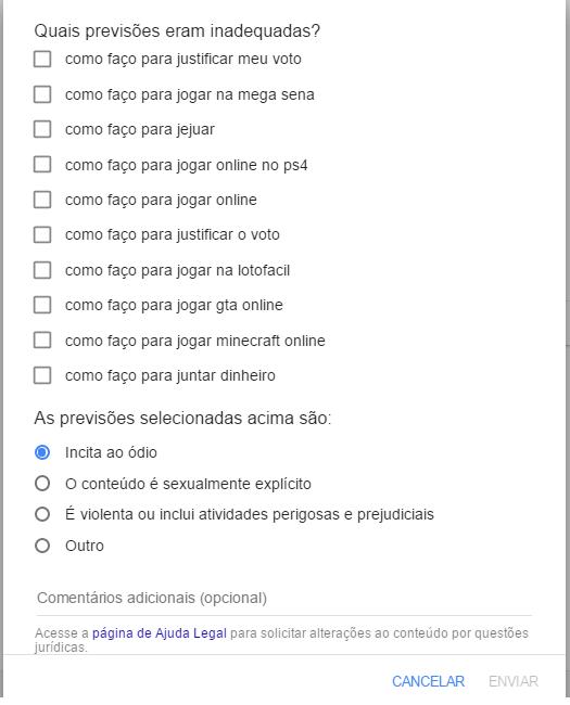 Formulário para denunciar preenchimento automático Google
