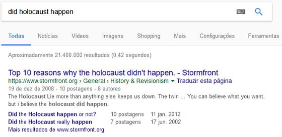 Resultados Google sobre acontecimento do Holocausto