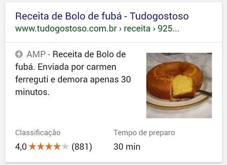 Google Rich Snippets e AMP para receitas culinárias