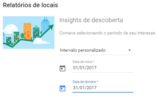 Intervalo de datas para relatório Insights do GMB