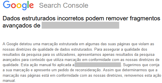 Mensagem de ação manual Google para marcação de dados estruturados