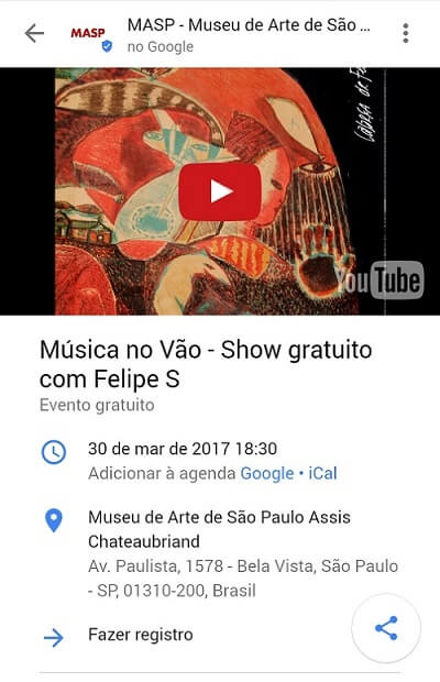 Reserva de evento no Google Posts MASP
