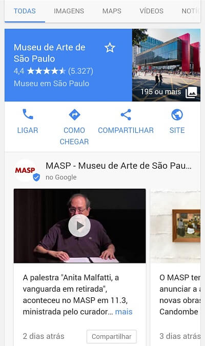 Resultado orgânico Google Posts MASP