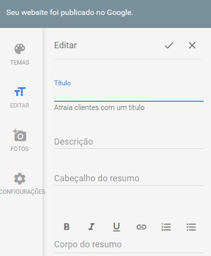 Editar texto de site Google Meu Negócio