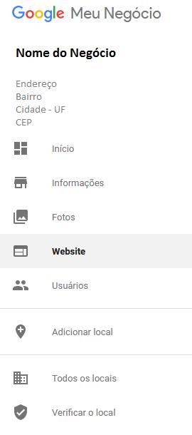 Opção Website Google Meu Negócio