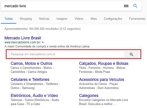 Termos de busca do Google sitelink searchbox