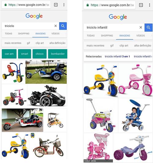 Exemplo de busca Google para termo triciclo