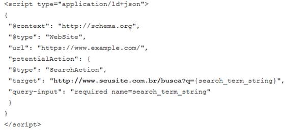 Marcação de dados estruturados Schema Json-LD Search Action