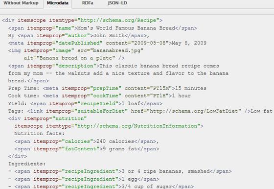 Marcação de dados estruturados Schema microdata