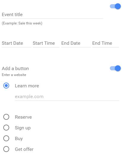 Post de evento e botão de ação no Google Meu Negócio