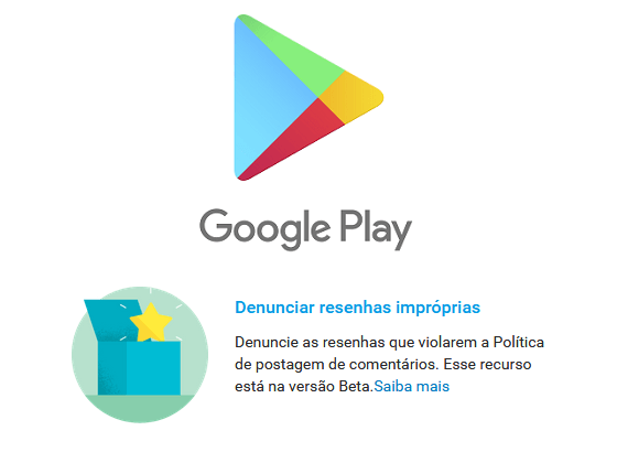 Google Play com denúncia de comentários fora da política